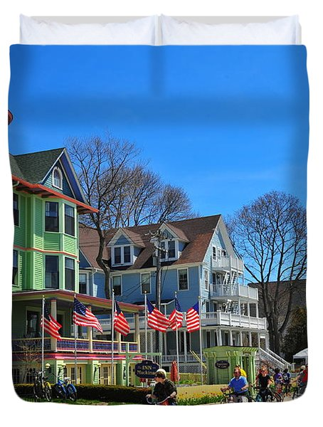 Mackinac Island Waterfront Street Duvet Cover by Terri Gostola