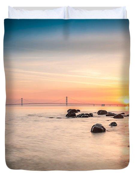 Mackinac Sunrise Duvet Cover by Larry Carr