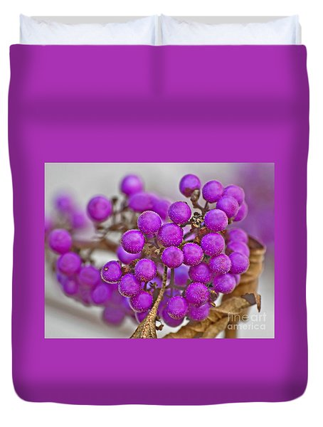 Duvet Cover featuring the photograph Macro Of Purple Beautyberries Callicarpa Plant Art Prints by Valerie Garner