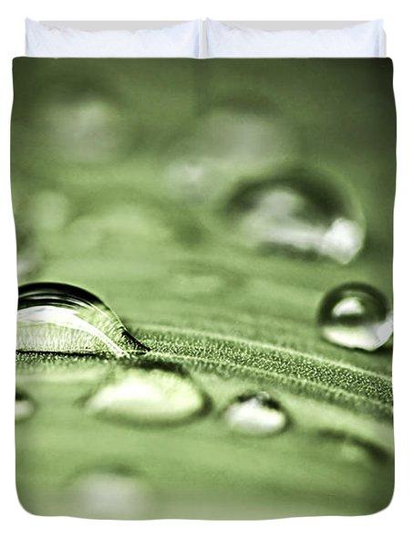 Macro Raindrops On Green Leaf Duvet Cover