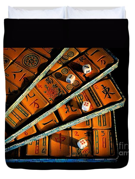 Mad For Mahjong Duvet Cover by Lois Bryan