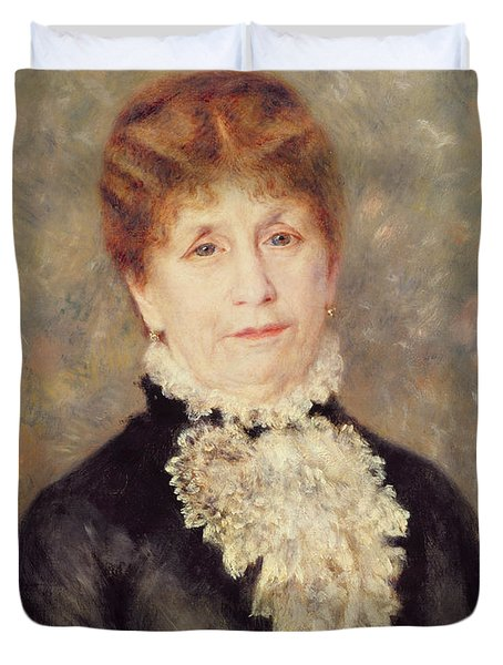 Madame Eugene Fould Duvet Cover by Pierre Auguste Renoir