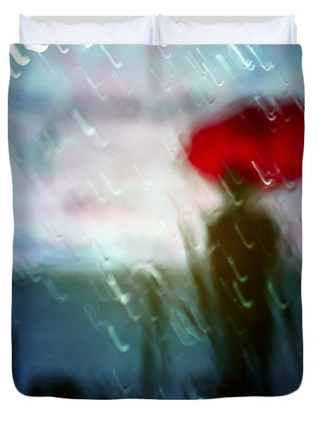 Madame With Umbrella Duvet Cover