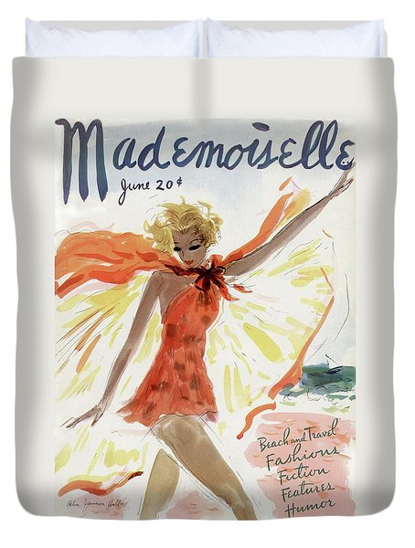 Mademoiselle Cover Featuring A Model At The Beach Duvet Cover by Helen Jameson Hall