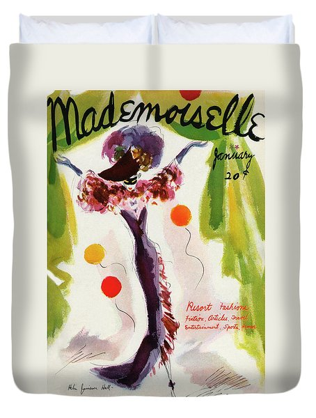 Mademoiselle Cover Featuring A Model Wearing Duvet Cover by Helen Jameson Hall