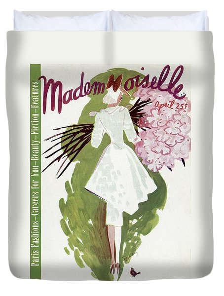 Mademoiselle Cover Featuring A Woman Carrying Duvet Cover by Elizabeth Dauber
