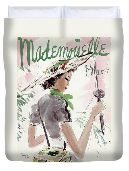 Mademoiselle Cover Featuring A Woman Holding Duvet Cover by Helen Jameson Hall