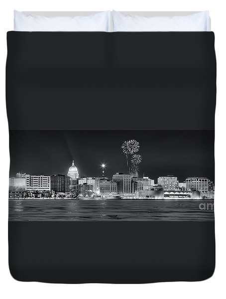 Madison - Wisconsin -  New Years Eve Panorama Black And White Duvet Cover
