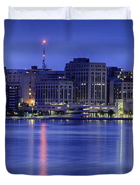 Duvet Cover featuring the photograph Madison Skyline Reflection by Sebastian Musial