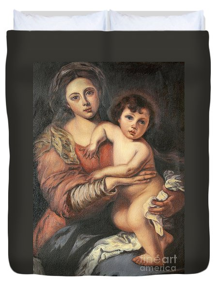 Duvet Cover featuring the painting Madona And Child by Mukta Gupta