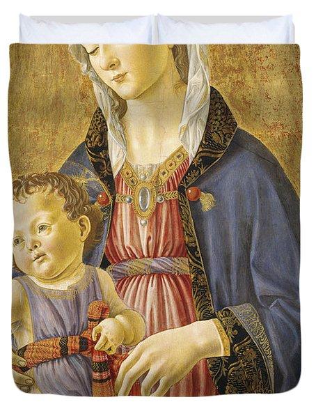 Madonna And Child Duvet Cover by Domenico Bigordi Domenico Ghirlandaio