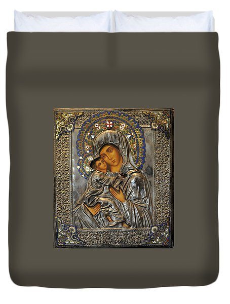 Madonna And Child Duvet Cover by Jay Milo