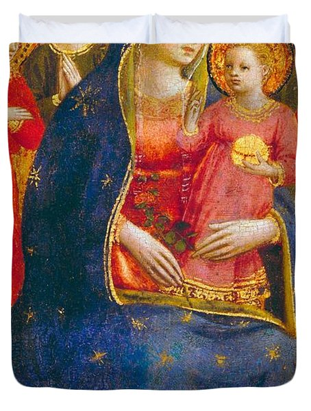 Madonna And Child With Angels Duvet Cover by Fra Angelico