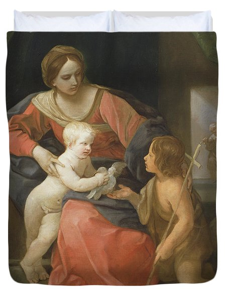 Madonna And Child With Saint John The Baptist Duvet Cover by Guido Reni