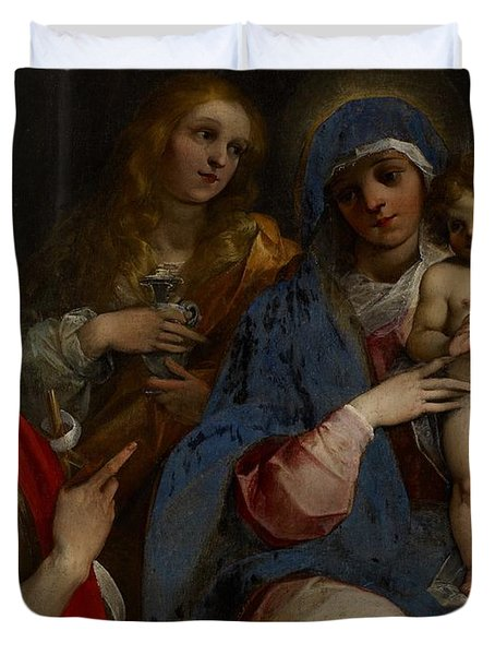 Madonna And Child With Saints John The Baptist With Mary Magdalene And Anne Duvet Cover by Guiseppe Cesari