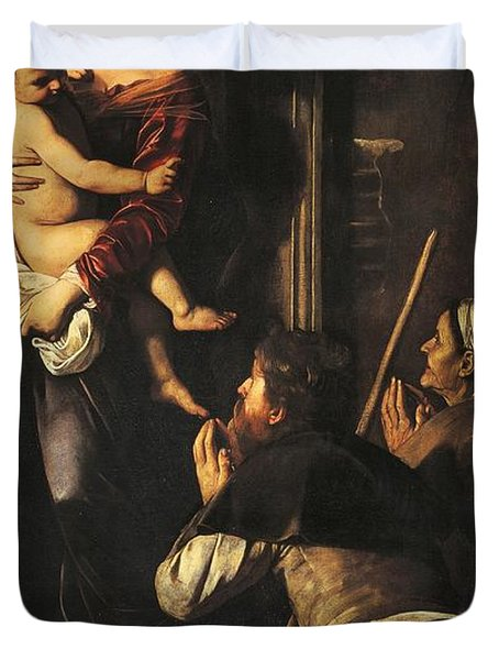 Madonna Dei Pellegrini Or Madonna Of Loreto Duvet Cover by Michelangelo Merisi da Caravaggio