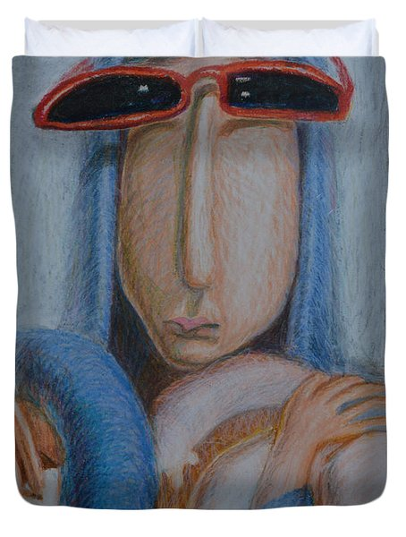 Madonna In Sunglasses Duvet Cover by Nancy Mauerman