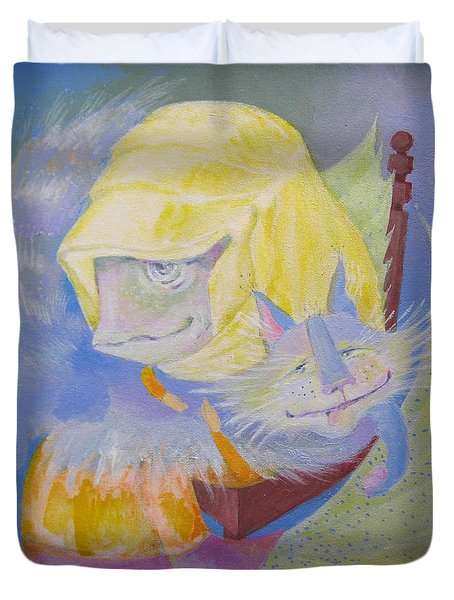 Duvet Cover featuring the painting Madonna With A Cat by Marina Gnetetsky