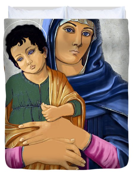 Duvet Cover featuring the painting Madonna With Child Blessing by Karon Melillo DeVega