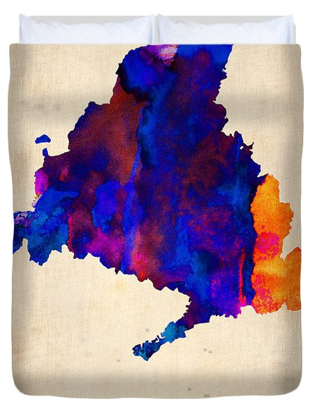 Madrid Watercolor Map Duvet Cover by Naxart Studio
