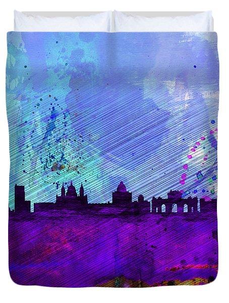 Madrid Watercolor Skyline Duvet Cover