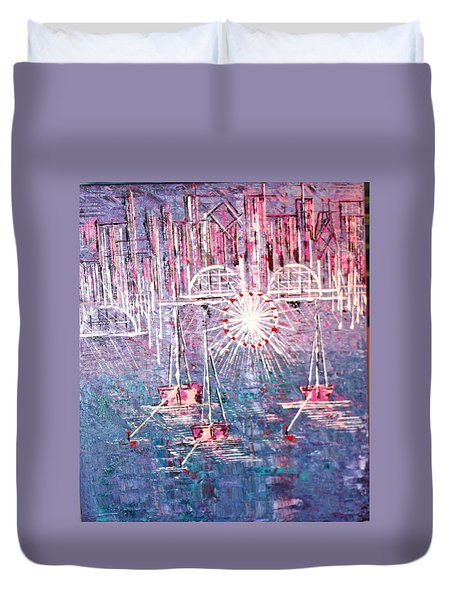 Belmont Turn Magenta Chicago Duvet Cover