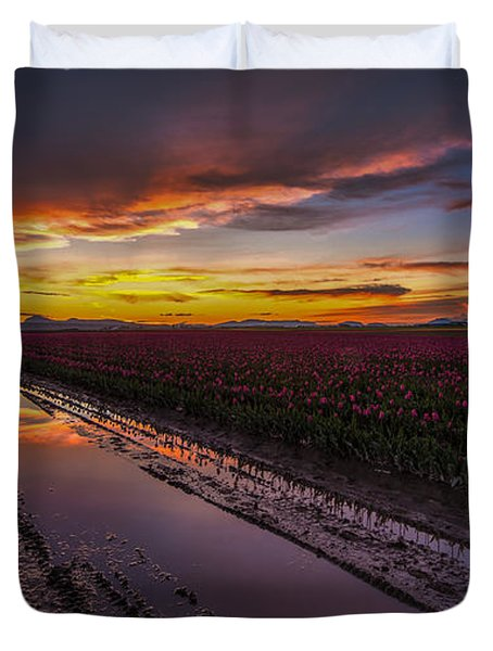 Magenta Fields Tulips Duvet Cover by Mike Reid