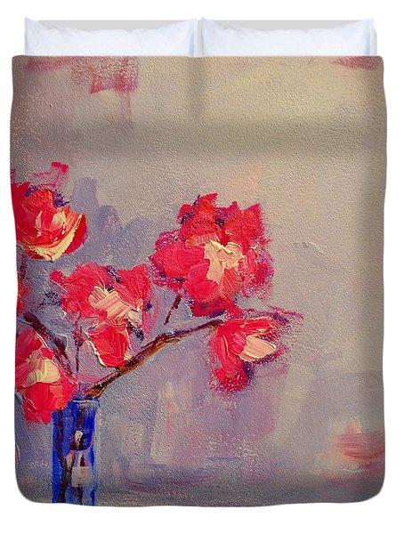 Magenta Flower Arrangement Duvet Cover by Patricia Awapara