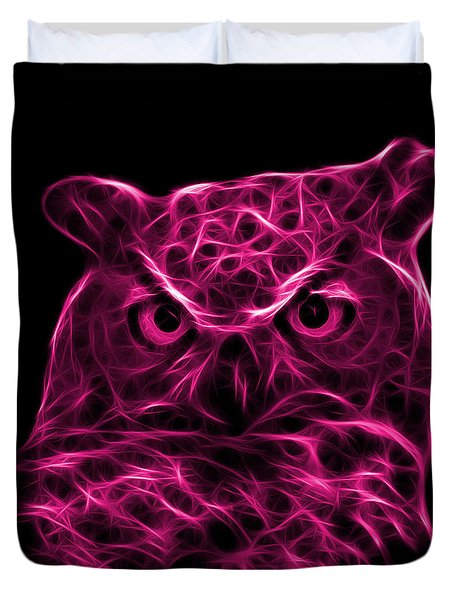 Magenta Owl 4436 - F M Duvet Cover by James Ahn