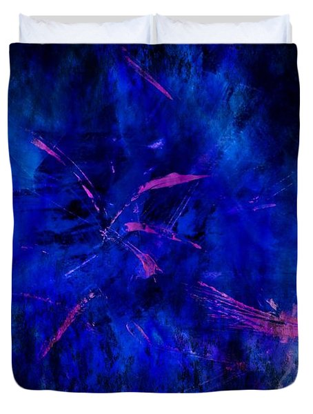 Duvet Cover featuring the painting Magenta Storm by Carolyn Repka