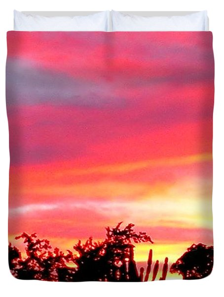 Duvet Cover featuring the photograph Magenta Sunset by DigiArt Diaries by Vicky B Fuller