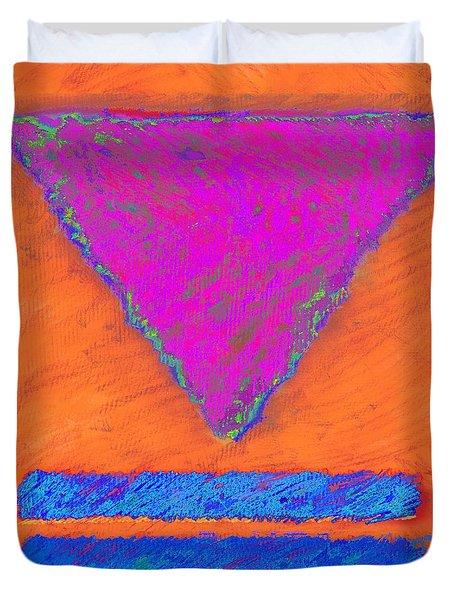 Magenta Triangle On Orange Duvet Cover