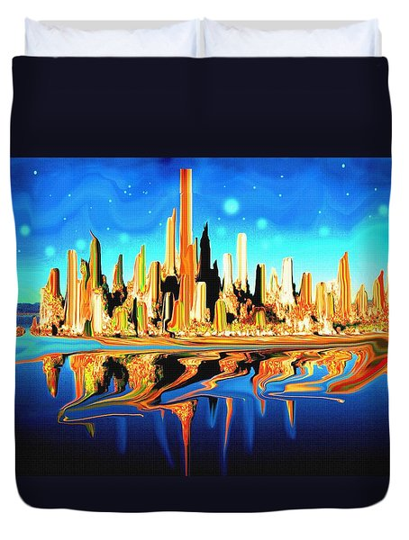 New York Skyline In Blue Orange - Modern Art Duvet Cover