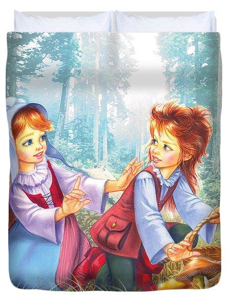 Magic Forest Mushrooms Duvet Cover by Zorina Baldescu