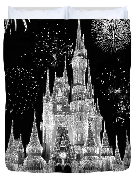 Magic Kingdom Castle In Black And White With Fireworks Walt Disney World Duvet Cover