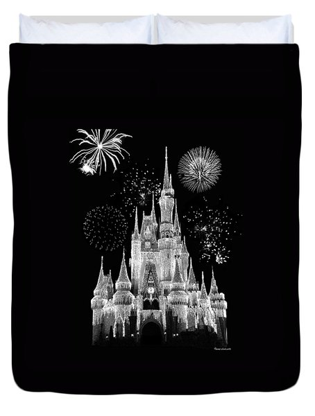 Magic Kingdom Castle In Black And White With Fireworks Walt Disney World Duvet Cover by Thomas Woolworth