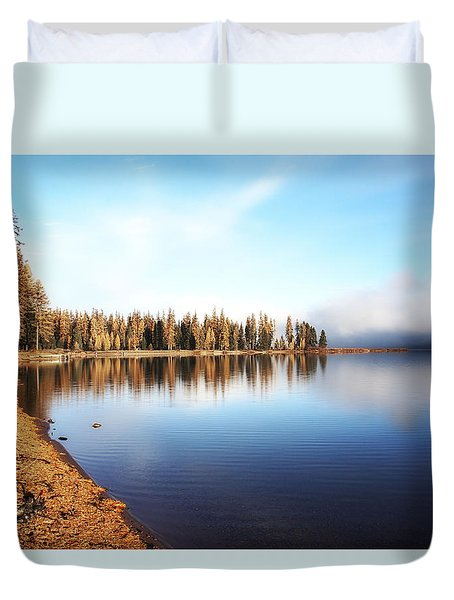 Duvet Cover featuring the photograph Magic On Seeley Lake by Janie Johnson
