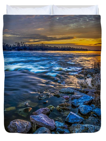 Magic Sunset Over Narew River Duvet Cover by Julis Simo