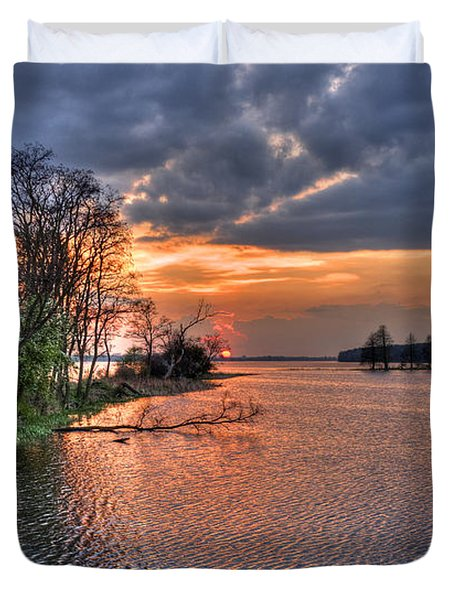 Magic Sunset Over Zegrze Lake Near Warsaw In Poland Duvet Cover