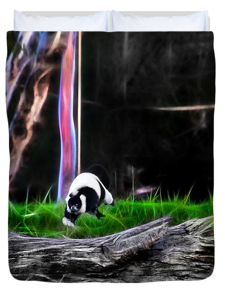Walk In Magical Land Of The Black And White Ruffed Lemur Duvet Cover