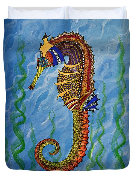 Duvet Cover featuring the painting Magical Seahorse by Suzette Kallen
