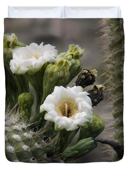 Duvet Cover featuring the photograph Magnificant Bloom Of The Saguaro by Lucinda Walter