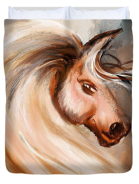 Magnificence- Colorful Horse- White And Brown Paintings Duvet Cover