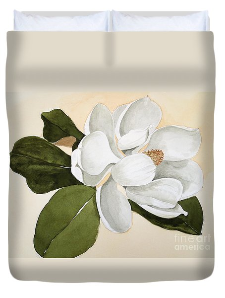 Duvet Cover featuring the painting Magnolia Bloom by Nancy Kane Chapman