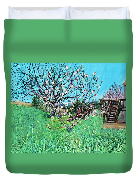 Magnolia Blooming At The Farm Duvet Cover