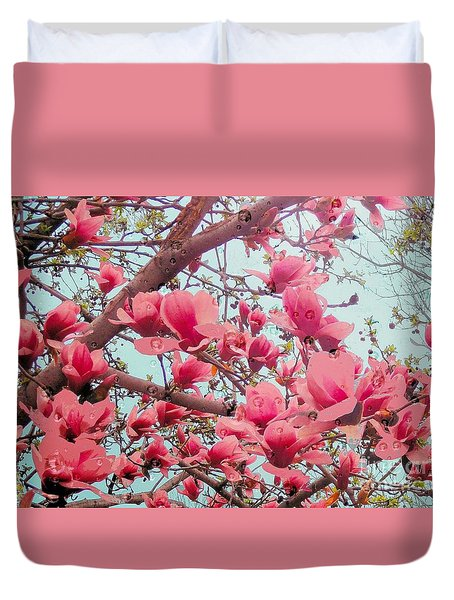 Magnolia Blossoms In Spring Duvet Cover