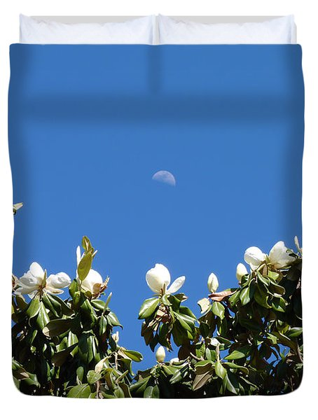 Duvet Cover featuring the photograph Magnolia Moon by Meghan at FireBonnet Art