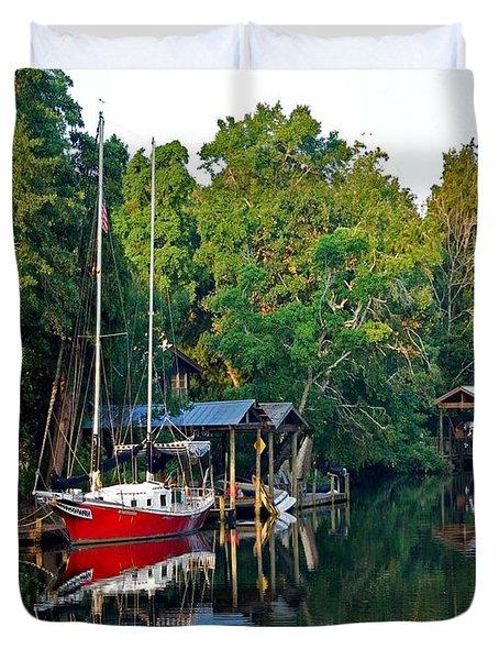 Magnolia Red Boat Duvet Cover