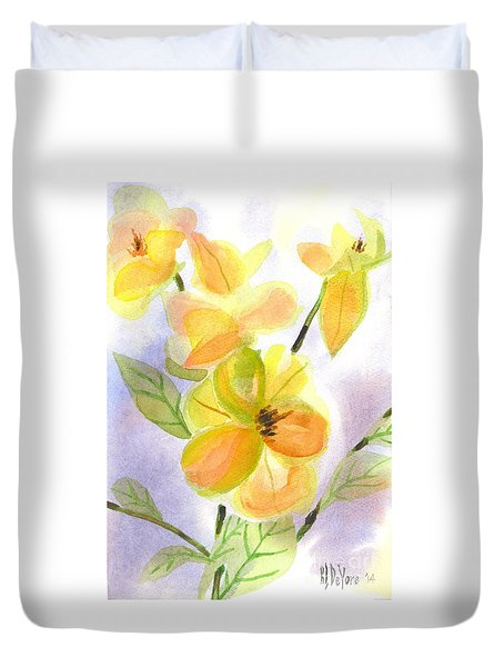 Duvet Cover featuring the painting Magnolias Gentle by Kip DeVore