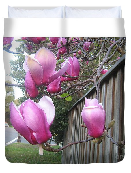Duvet Cover featuring the photograph Magnolias In Bloom by Leanne Seymour